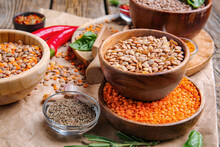 Different Raw Lentils With Spi...