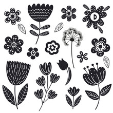 Set Of Isolated Black Flowers ...