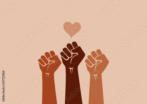 Fototapeta Black Lives Matter. Multiracial human hands raised with clenched fists and love icon, isolated on a light background. Symbol of struggle for equality and human rights. obraz