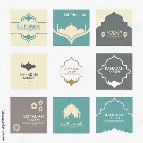 set beautiful eid mubarak with mosque background design vector Canvas Print