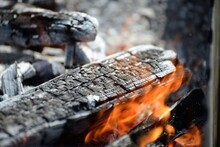Charcoal Grill, Burning Firewo...