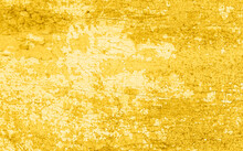 Cracked And Peeling Yellow Gold Paint On Wood With Texture And Grunge Finish