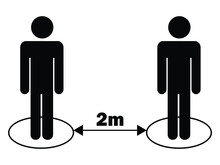 Social Distancing 2m Two Meters Stick Figure. Black Illustration Isolated On A White Background. EPS Vector