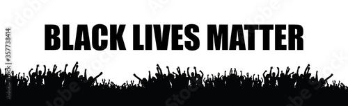 Black Lives Matter black slogan and silhouette protester, social poster on white Fototapeta