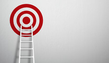 Stand Out From The Crowd And Think Different Creative Idea Concepts. Longest White Ladder Growing Up Growth To Aiming High To Goal Target