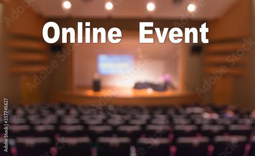 Online Event Text over blur photo of conference hall or seminar room without att Tapéta, Fotótapéta