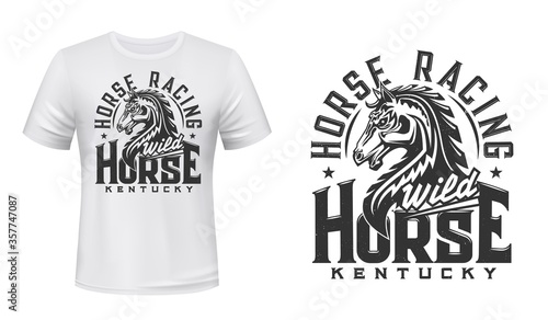 Fotografie, Tablou Stallion horse t-shirt print mockup, horse race and equestrian sport vector design
