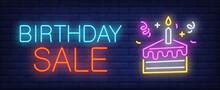 Birthday Sale Neon Sign. Peace...