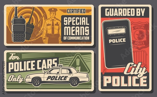 Police force, patrol and policing vector design of law and order Canvas Print