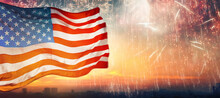 American Flag On Background Of...