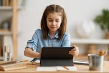 Girl Doing Homework Or Online ...
