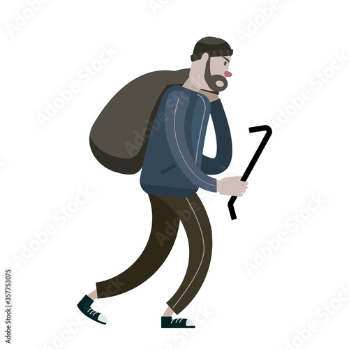 Fotografia Looter with crowbar and bag. Robber, scrap, criminal character