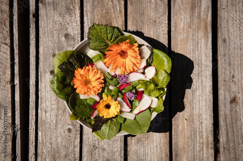 Schale mit Salat auf braunem Holzuntergrund #357754495