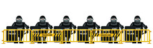 Riot Police Standing Behind Crowd Control Barrier Isolated On White Background