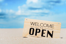 Open Sign On Tropical Sand Bea...