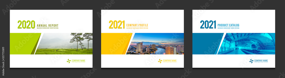 Fototapeta Cover design for annual report business catalog company profile brochure magazine flyer booklet poster banner. A4 landscape template design element cover vector.