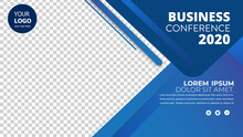 Banner Design With Blue Geomet...