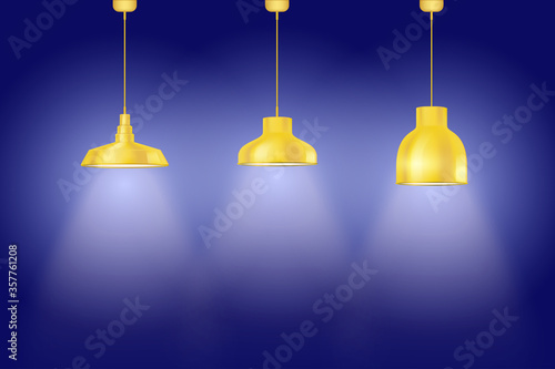 Interior of Blue wall with yellow vintage pedant lamps Fototapet
