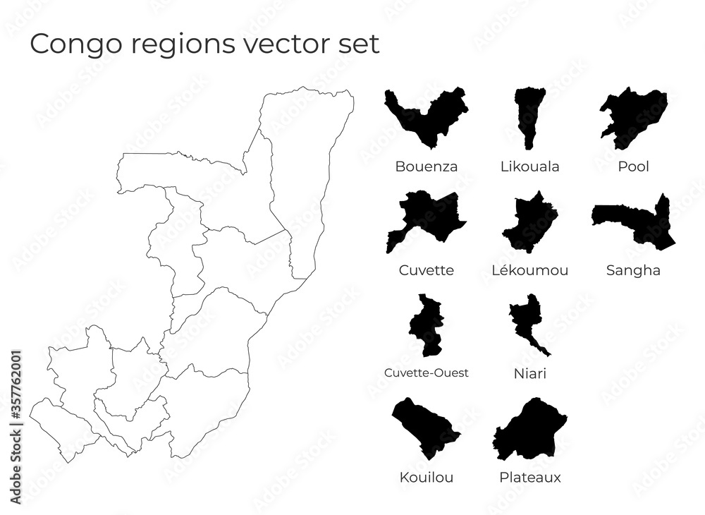 Fototapeta Congo map with shapes of regions. Blank vector map of the Country with regions. Borders of the country for your infographic. Vector illustration.