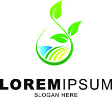 Agro And Farm Logo Vector With Growing Leaf