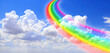 canvas print picture - White clouds in the blue sky and colourful rainbow