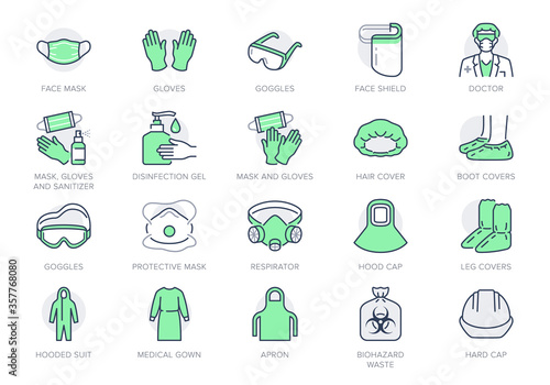 Medical PPE line icons Canvas Print