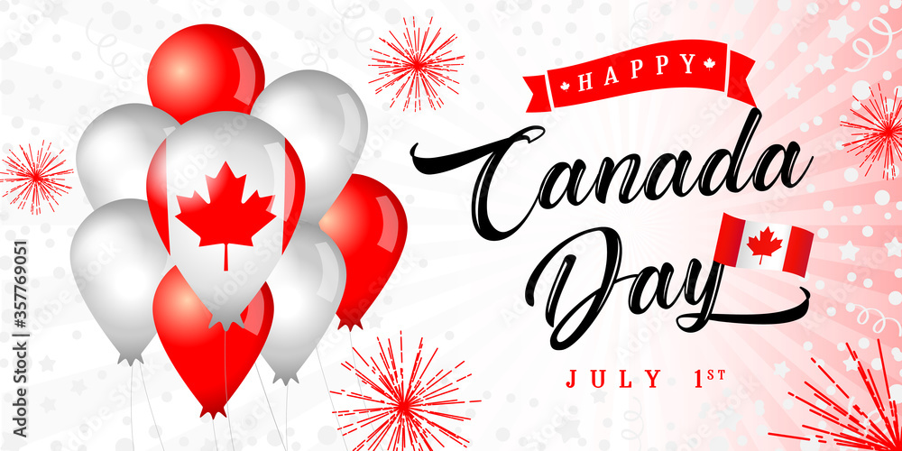 Fototapeta Happy Canada Day greeting banner. Isolated abstract graphic design template. Light, bright colors. Calligraphic lettering. Decorative brush calligraphy, flag balloons. Holiday red and white background