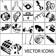 Icons Set Auto Parts. Vector Sketch