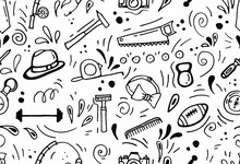Daddy's Day. Seamless Pattern With Male Objects In Doodle Style. White Background, Isolate. Stock Illustration.