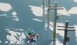水害にあった街と救命ボートで救助活動をするジオラマの風景