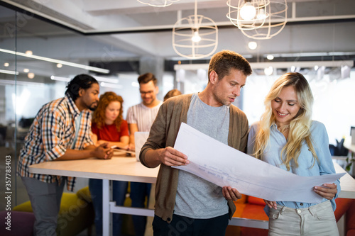 Business people designer architects teamwork brainstorming planning meeting concept
