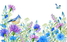 Watercolor Flowers  Illustrati...