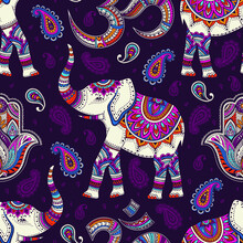 Tribal Vector Seamless Pattern With Elephant, Hams And Om Sign And Symbol. Ethnic Indian Background. Vintage Retro Neon Colors. Hand Drawn Illustration. Wallpaper, Cloth Design, Fabric, Tissue, Carpet