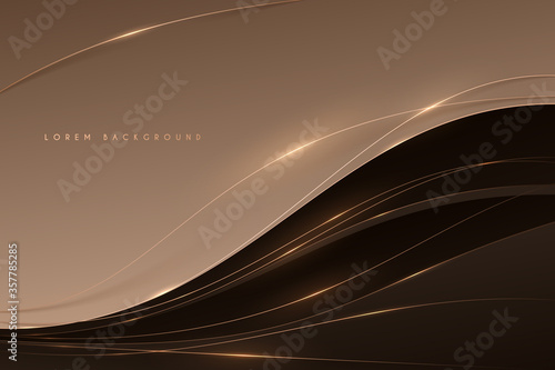 Fotografía Abstract soft brown color background with gold lines