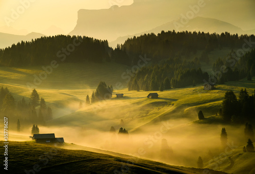 Fototapeta Seiser Alm (Alpe di Siusi) with Langkofel mountain at sunrise in summer, Italy obraz