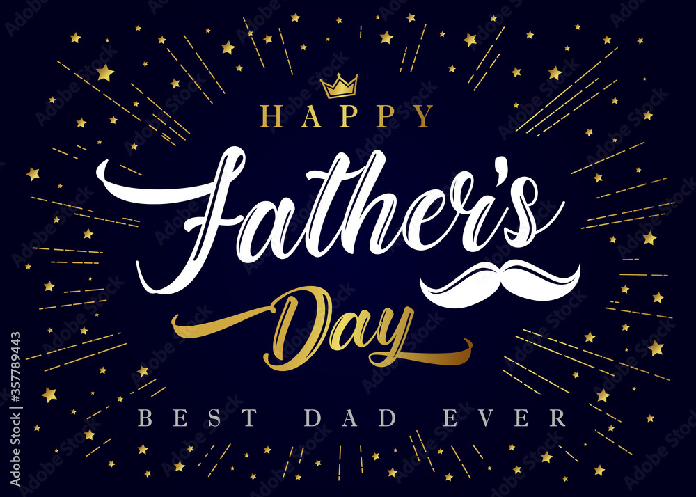 Fototapeta Happy Fathers Day, Best Dad ever calligraphy poster. Father's day sale promotion typography banner with crown, mustache and golden beams. Vector illustration