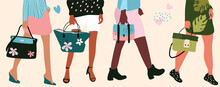 Set Of Four Pairs Female Legs And Hands With Different Types Of Trendy Handbags.Hand Drawn Vector Illustration In Pastel Colors.Different Ethnicities Poster.Banner For Fashion Boutique Or Shopping