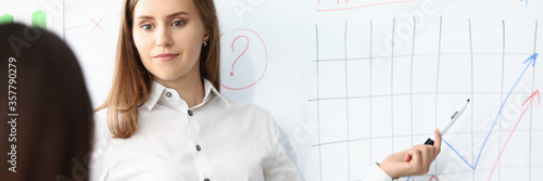 Fotografía Portrait of smart businesswoman standing at comfortable workplace and pointing at modern glass board with graphs and charts