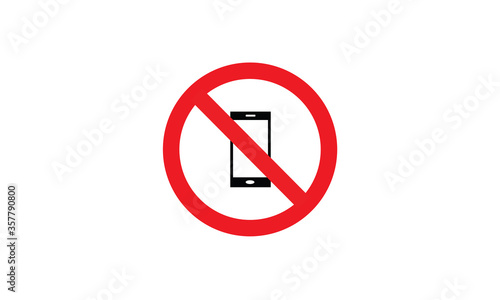 Photo No phones prohibition sign red and white circle symbol