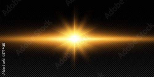 Obraz Shining golden stars, sun isolated on a black background. Effects, glare, lines, glitter, explosion, golden light. Vector illustration - fototapety do salonu