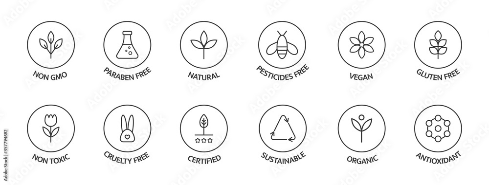 Fototapeta Organic cosmetic labels set. Product free allergen line icons. GMO free emblems. Organic stickers. Natural products badges. Healthy eating. Vegan, bio food. Vector illustration
