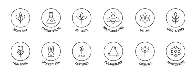 Organic cosmetic labels set. Product free allergen line icons. GMO free emblems. Organic stickers. Natural products badges. Healthy eating. Vegan, bio food. Vector illustration
