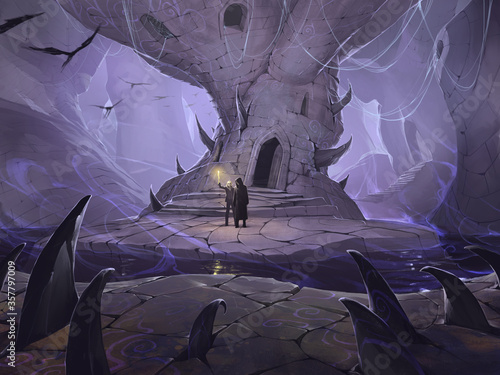 Original digital illustration of a mysterious fantasy cave with two figures of a Fototapet