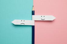 Pencil - Direction Indicator - Choice Of Sad Or Happy Mood.
