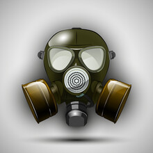 Gas Mask Respirator Skull Breather On Round Background. Protective Radiation Suit In Circle Badge. Breathing Gas Mask Apparatus With Two Filters. Color Illustration