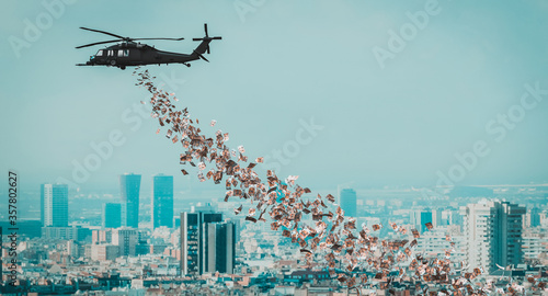helicopter that distributes euro money over the city. - 357802627