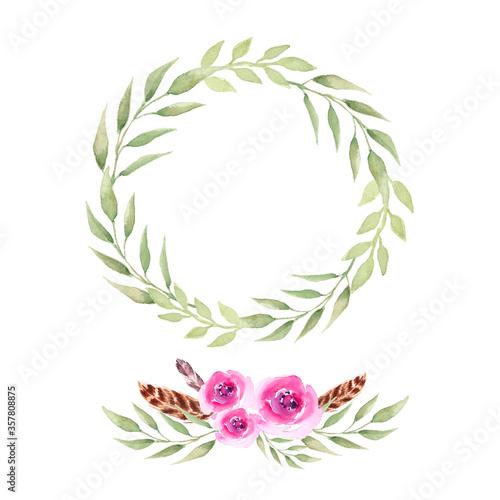 Obraz Watercolor boho wreath and bouquet. Vector - fototapety do salonu