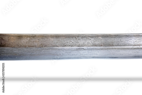 Fototapeta Damascus steel saber blade isolated on a white obraz