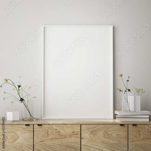 Obraz mock up poster frame in modern interior background,close up, living room, Scandinavian style, 3D render, 3D illustration - fototapety do salonu