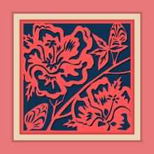Vector Traditional Framed Chinese Paper Cutting Art, Classic Blue & Pink.